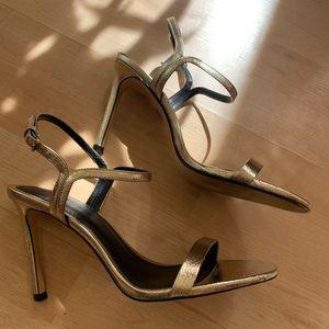 💛 Zara Pale Gold Roman-Style Stiletto Sandal 💛